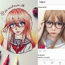 Porównanie mojego rysunku do oryginalnego zdjęcia :3 nie starałam się dokładn...