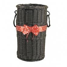 Wiklinowy kosz na parasole - wenge z czerwoną wstążką w grochy
