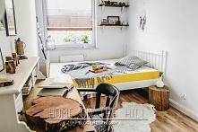 Odsłona sypialni w skandynawskim stylu