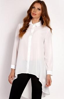 LOU LOU L001 koszula ecru Zwiewna koszula damska,  wykonana z delikatnej tkaniny, z kołnierzykiem, długi rękaw
