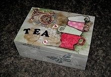 herbata, tea, pudelko, rekodzieło, handmade, decoupage