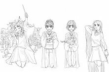 Big Four jako uczniowie Hogwartu.