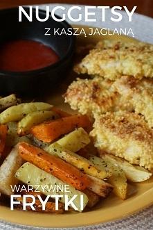 Zdrowy obiad - nuggetsy z kurczaka z kaszą jaglaną + warzywne frytki