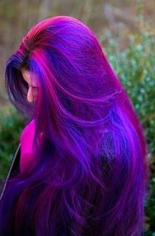 deep blue & purple pink long hair