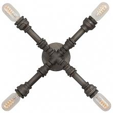 INDUSTRIAL LOFT NO. 4 G Lampa w industrialnej stylizacji. Niezwykłe połączenie stalowych rur z ozdobną żarówką Edison Bulb (w komplecie)
