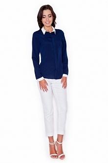Zmysłowa koszula z białym kołnierzykiem. Idealna na do pracy oraz na spotkania biznesowe. Będziesz wyglądać w niej elegancko i nowocześnie.