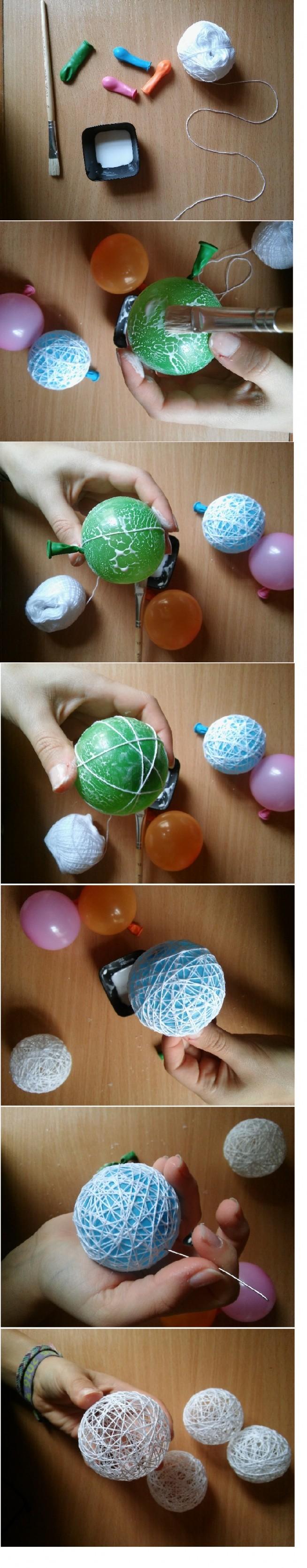 Łatwy sposób robienia kuli na lampki! 1) wikol + kordonek + balony 2) nadmuchać balony i pomalować klejem 3) Owijać kordonkiem 4) co jakiś czas posmarować klejem 5) Poczekać aż wyschnie 6) Przebić igłą