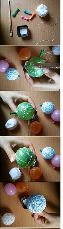 Łatwy sposób robienia kuli na lampki! 1) wikol + kordonek + balony 2) nadmuchać balony i pomalować klejem 3) Owijać kordonkiem 4) co jakiś czas posmarować klejem  5) Poczekać aż...