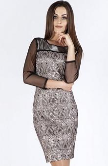 Bicot 2700-03 sukienka beżowa Seksowna sukienka, ołówkowy fason podkreśla kobiece kształty, długość midi