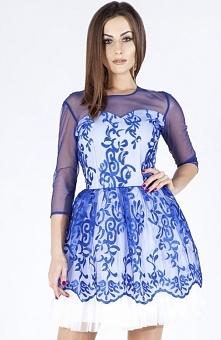 Bicot 2103-05 sukienka chabrowa Zjawiskowa sukienka,  rozkloszowany fason, z rękawem 3/4, wystająca podszewka ala tafta