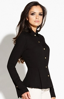 Dursi Lora koszula czarna Elegancka koszula damska, wykonana z gładkiej dzianiny, zapinana z przodu na złote guziki