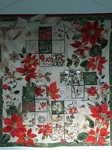 Kalendarz adwentowy HandMade. wykonany z bawełnianej tkaniny.