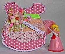 Urodzinowa kartka sukieneczka na roczek dla dziewczynki