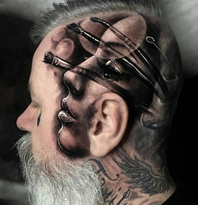 Twarz Na Skroni I Pędzle Na Tatuaże Zszywkapl