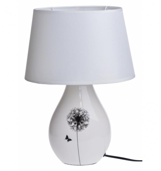 Lampa ceramiczna stołowa, nocna z motywem dmuchawca. Abażur z materiału  + pcv w kolorze lekko kremowym. Podstawa ceramiczna z czarnym dmuchawcem w kolorze kremowym. Lampa na żarówkę E 14 max 40 W. Kabel długości ok 1,2 m.