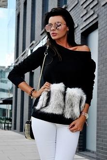 Sweter z kieszeniami z futra.