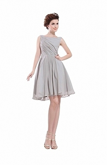 Angelia Bridal Women's Gray Square Neck Short Sleevless Chiffon Prom Dress  Now go to Amazon to buy