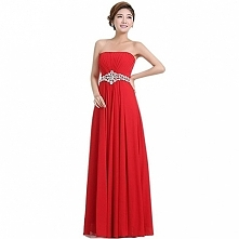 Angelia bridal Women's Strapless Sweetheart Chiffon Long Prom Dresses  Now go to Amazon to buy