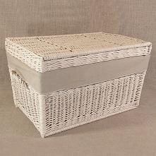Wiklinowy kufer z płaskim wiekiem - kremowy z obszyciem ( LENDA )