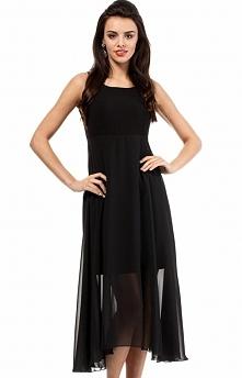 Moe MOE203 sukienka czarna Wieczorowa sukienka, z głębokim dekoltem w kształcie litery V na plecach, odcinana pod biustem z szyfonową wierzchnią warstwą długości midi