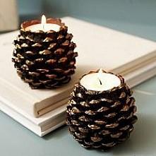 świecznik z szyszki