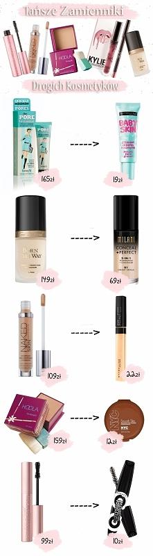 Oto zestawienie tańszych zamienników drogich kosmetyków do makijażu.