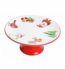 Patera ceramiczna ze świątecznym motywem na czerwonej nodze. Wyjątkowa na święta -do ciasta, babeczek, owoców i innych łakoci.