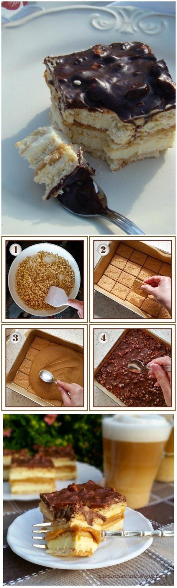 MAXI KING CIASTO SKLADNIKI: ok. 400 g herbatników, 1 puszka gotowego masy krówkowej (lub mleka skondensowanego słodzonego gotowanego przez 2,5 - 3 godziny) SKLADNIKI MASY MLECZNEJ: 1,5 kostki miękkiego masła, 1 szklanka mleka, 3/4 szklanki cukru, 2 łyżeczki cukru waniliowego, 400 - 500 g mleka w proszku (miałkiego) SKLADNIKI POLEWY; 2 czekolady gorzkie, 1/2 szklanki kremówki, 150 g orzechów laskowych (ew. ziemnych) WYKONANIE Orzeszki posiekać i podprażyć na suchej patelni (fot.1). Blachę wyłożyć papierem do pieczenia. Położyć pierwszą warstwę herbatników (fot.2). Szklankę mleka, cukier i cukier waniliowy zagotować i odstawić do ostygnięcia. Masło utrzeć na gładką i puszystą masę, a następnie dodać mleko i mleko w proszku (wedle uznania od 3 do 4 szklanek). Utrzeć. Masę na chwilę odstawić do lodówki, żeby trochę zgęstniała. Następnie połowę masy mlecznej wyłożyć na herbatniki i przykryć następną warstwą herbatników. Przygotować masę krówkową. Dobrze jest ją wcześniej podgrzać wkładając puszkę do garnka z wodą i chwilę pogotować. Będzie się lepiej rozprowadzać (fot.3). Wyłożyć ją na herbatniki. Bezpośrednio na masę krówkową rozprowadzić resztę masy mlecznej, a na nią warstwę herbatników. Czekoladę roztopić w rondelku razem z mlekiem. Kiedy się rozpuści, dodać orzeszki i polać nią wierzch ciasta (fot.4). Całość schłodzić w lodówce przez minimum 3 godziny. Mmm pycha : )