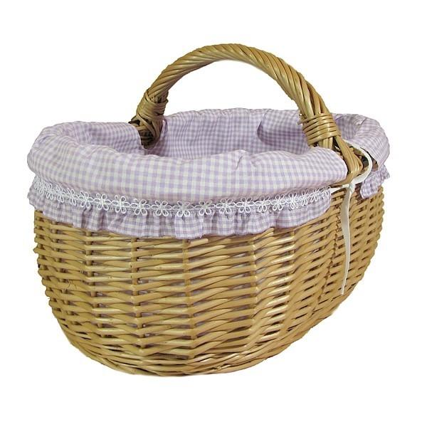 Wiklinowy koszyk obszyty materiałem wzór - fioletowa kratka + falbanka