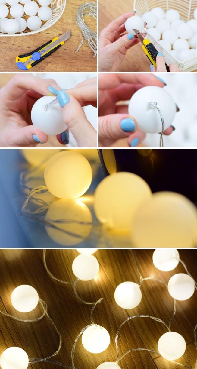 Najprostszy sposób na wyjątkową girlandę świetlną? Piłeczki ping-pongowe! Więcej kreatywnych pomysłów znajdziesz na blogu bimago :)