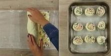 Pyszne roladki z serkiem śmietankowym, szynką, żółtym serem, cebulą i pietruszką   Składniki:  400 g gotowego spodu do pizzy lub ciasto francuskie 150 g serka śmietankowego  1 c...