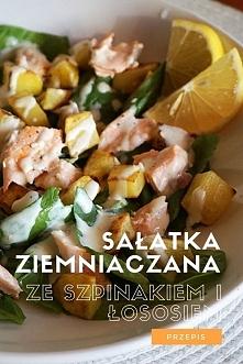 Przepis na sałatkę ziemniaczaną ze szpinakiem i łososiem