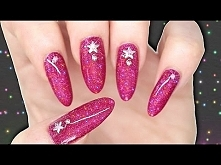 DIY GEL POLISH EFFECT NAILS - HOT PINK HOLOGRAPHIC GLITTER NAILART WITH STUDS