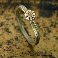 Japoński pierścionek mokume (zaręczynowy z brylantem)!
