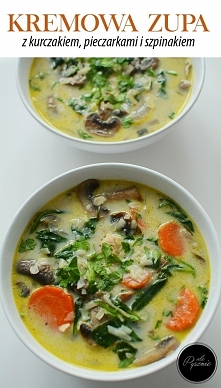 Kremowa zupa z kurczakiem. Kliknij w zdjęcie i zobacz przepis.