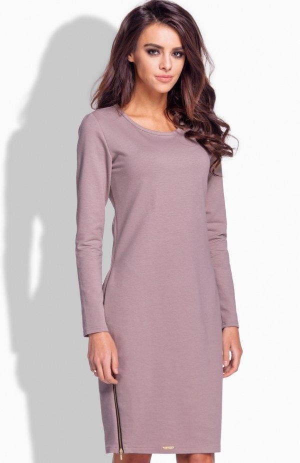 Lemoniade L170 sukienka cappucino Zmysłowa sukienka, prosta, a zarazem subtelnie kobieca sukienka, długi rękaw, okrągły dekolt