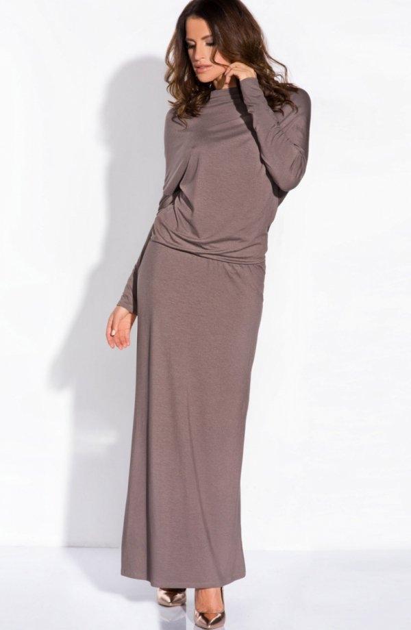 FIMFI  I140 sukienka cappucino Kobieca sukienka, długość maxi, z przodu rozporek zmysłowo odsłaniający nogi
