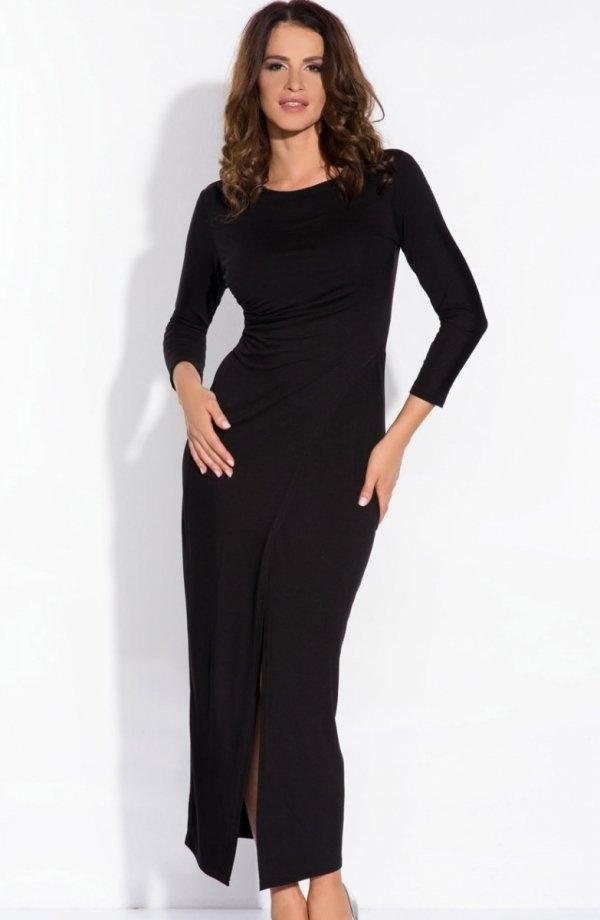 FIMFI I139 sukienka czarna Seksowna sukienka o długości maksi, ozdobiona z przodu marszczeniem, z długim rękawem