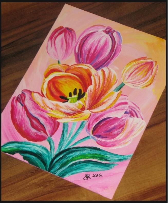 Obraz tulipanów, format A5, farby akrylowe.
