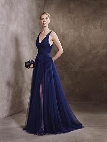 Sexy V-neck with Straps Backless High Slit Blue Prom Dress