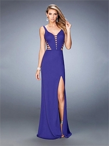 Sheath With a Plunging Neckline Straps Side Slit Prom Dress PD3261