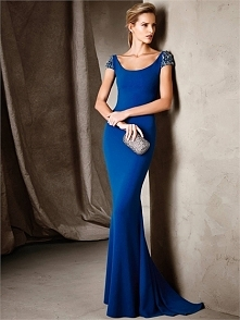 Classic Mermaid scoop short sleeves open back Prom Dresses PCPD0054