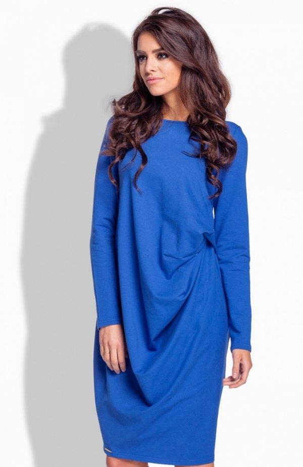 Lemoniade L166 sukienka chabrowa Komfortowa sukienka, luźny fason ukryje niedoskonałości sylwetki, z przodu piękne drapowanie