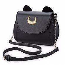 Czarna torebka z kocimi usz...