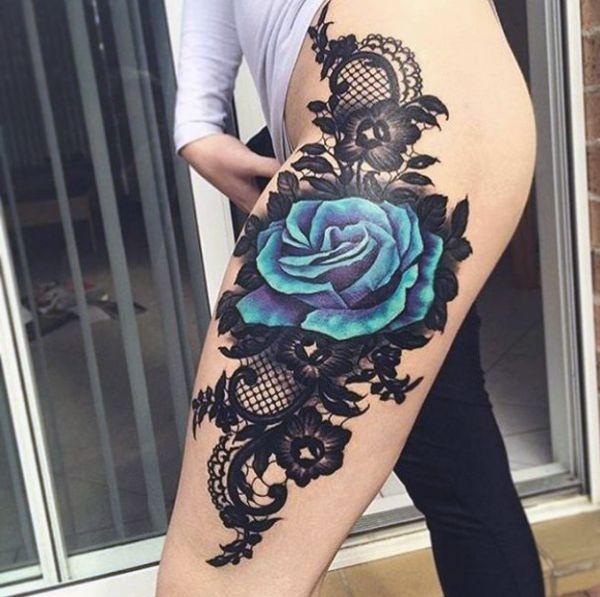 Tatuaże Damskie Niebieska Róża Na Udzie Na Tatuaże Zszywkapl