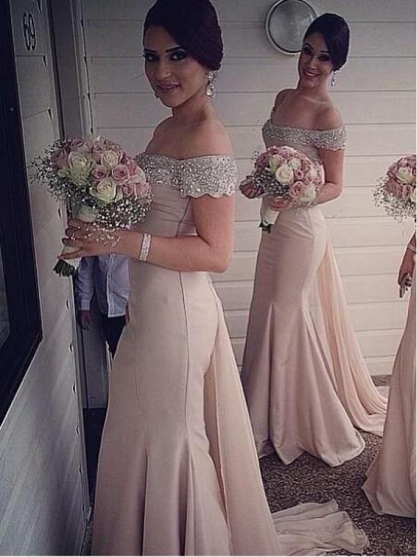 BEADED SEQUINS OFF THE SHOULDER MERMAID SATIN FLOOR LENGTH BRIDESMAID DRESS WITH TIER dressbib.com