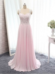 LONG LACE PROM DRESS 2016, PINK BACKLESS PROM DRESSES WITH STRAPS