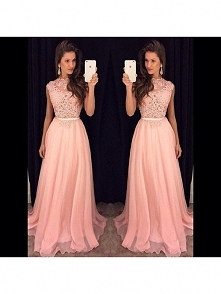 PINK LONG PROM DRESS 2016 WITH LACE APPLIQUE