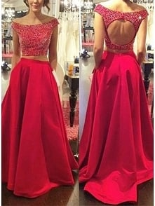 MAGENTA TWO PIECE PROM DRESS WITH BEADING