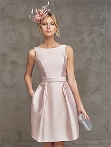 Scoop Neckline Straps V shape back with Belt Short Prom Dress PD3165
